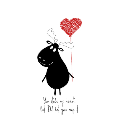 Funny black moose holding a red heart balloon. Love greeting card with phrase: you stole my heart, but I let you keep it.