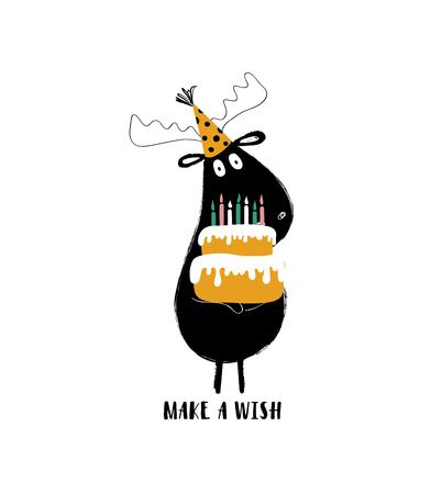 Funny black moose holding big birthday cake. Birthday greeting card with phrase: make a wish. Illustration