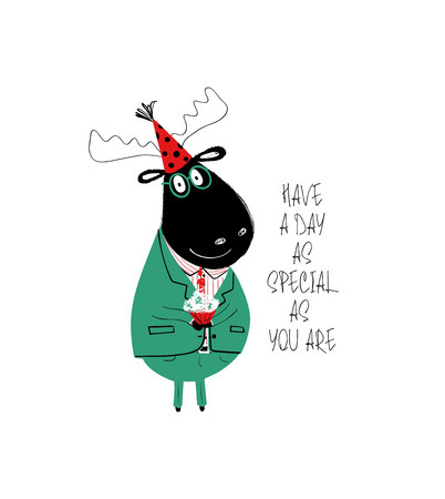 Funny black moose in suit holding birthday cupcake. Birthday greeting card with phrase: have a day as special as you are.