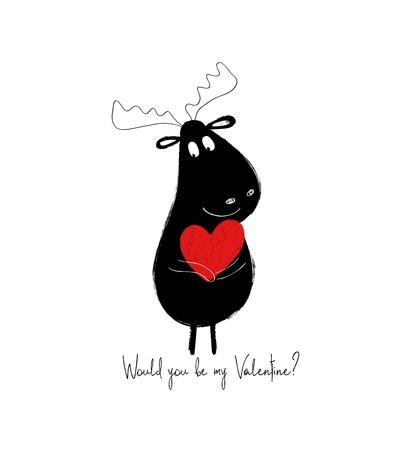 Funny black moose holding red heart. Love greeting card. Illustration