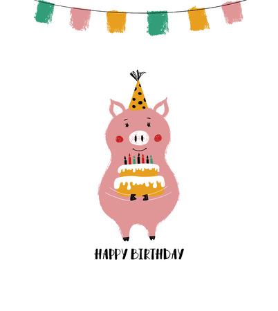 Funny Birthday greeting card. Cute pink pig holding a big Birthday cake. Illustration