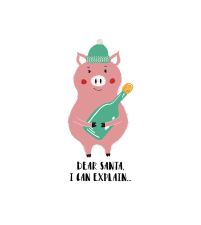 Cute pig in hat holding a bottle. Christmas and New Year greeting card with phrase: dear Santa, I can explain.