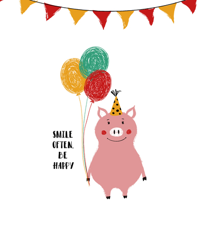 Cute pink pig holding a bunch of colorful balloons. Funny Birthday greeting card with phrase: smile often, be happy. Ilustrace