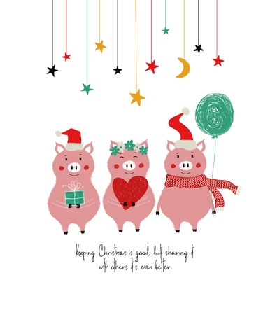 Christmas and New Year greeting card with cute pigs and phrase: keeping Christmas is good, but sharint it with others its even better. 向量圖像