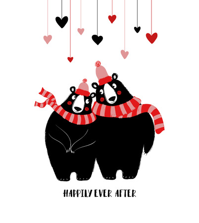 Couple of hugging cute bears in winter hats and scarfs. Love greeting card with text: happily ever after. Illustration
