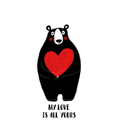 Cute black bear holding a big red heart. Love greeting card with phrase: my love is all yours. Ilustração