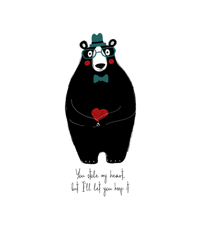 Cute black bear holding a small red heart. Love greeting card with phrase: you stole my heart, but Ill let you keep it. Illustration