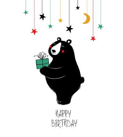 Birthday greeting card with cute black laughing bear holding a gift. Çizim