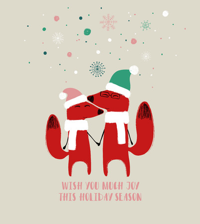 Couple of cute holding hands foxes in hat and scarf. Christmas or winter greeting card with phrase: wish you much joy this holiday season.