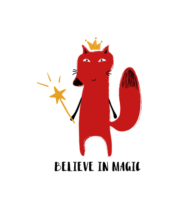 Cute red fox in crown holding a magic wand. Greeting card with inspiring phrase: believe in magic.  イラスト・ベクター素材