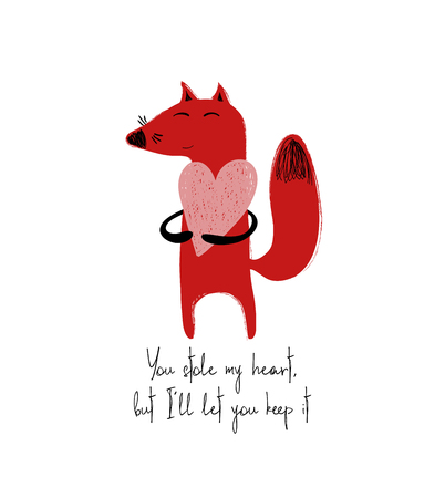 Poster with cute red fox holding a big heart. Love greeting card with phrase: you stoll my heart, but I let you keep it. Иллюстрация