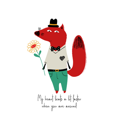 Poster with cute smartly dressed fox holding a flower. Love greeting card with phrase: my heart beats a bit faster when you are around. Foto de archivo - 110291116