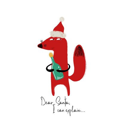 Funny Christmas greeting card with cute red fox in Santas hat holding a bottle and phrase: dear santa, I can explain.