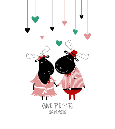 A couple of smartly dressed holding hands moose. Love greeting card or save the date concept.