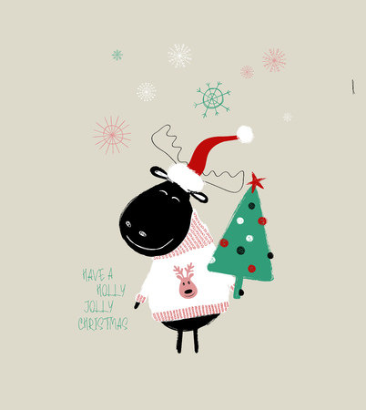 Christmas greeting card with cute moose holding tree and phrase: have a holly jolly Christmas. 向量圖像