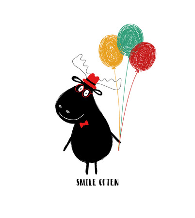 Funny black moose with bunch of balloons. Greeting card with motivating phrase: smile often. Ilustração