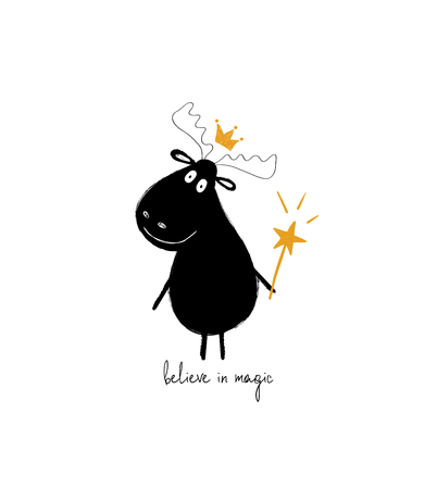 Cute black moose in crown holding a magic wand. Greeting card with inspiring phrase: believe in magic.  イラスト・ベクター素材