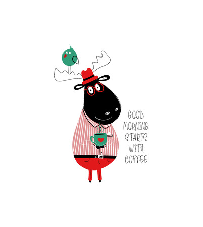 Cute black moose holding a cup of coffee. Card with inspiring phrase: good morning starts with coffee.