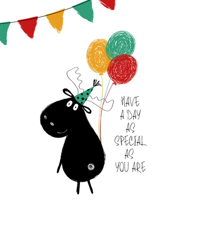 Funny black moose with bunch of balloons. Birthday greeting card with phrase: have a day as special as you are.