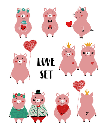 Love set with cute single pink pig and couple. Perfect for Valentines day greeting cards, wedding invitation or just some love message.