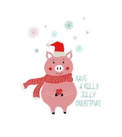 Cute pig in Santa's hat and scarf holding a small red heart. Christmas and New Year greeting card.