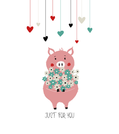 Lovely pink piggy holding a big bunch of flowers. Love greeting card, poster or wedding invitation.