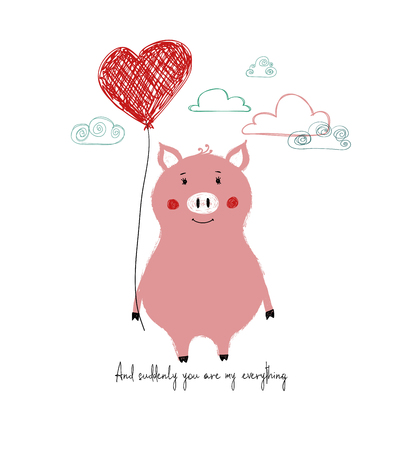 Lovely pink piggy holding a red heart balloon. Love greeting card with phrase: and suddenly you are my everything.