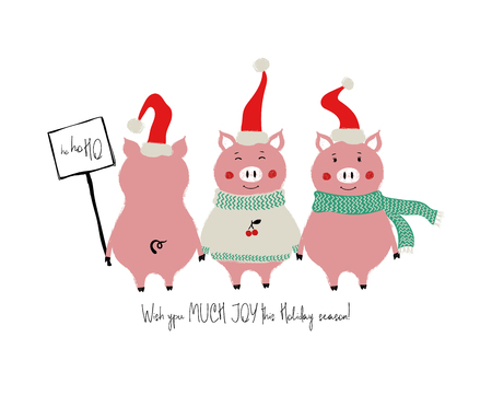 Funny gang of pigs. Christmas and New Year greeting card with phrase: wish you much joy this holiday season. Stock Illustratie