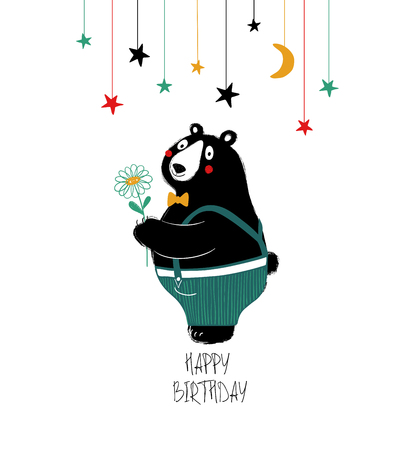 Birthday greeting card with dressed up cute black bear holding a flower.