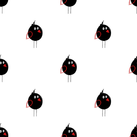 Seamless pattern with cute black birds. Funny background for nursery or any textile surface. 向量圖像