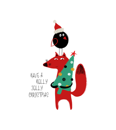 Funny Christmas greeting card with cute red fox holding a Christmas tree and plump round black bird.