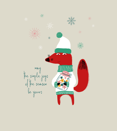Cute red fox holding a jar full of stars. Christmas greeting card with phrase: may the simple joys of the season be yours. Ilustração
