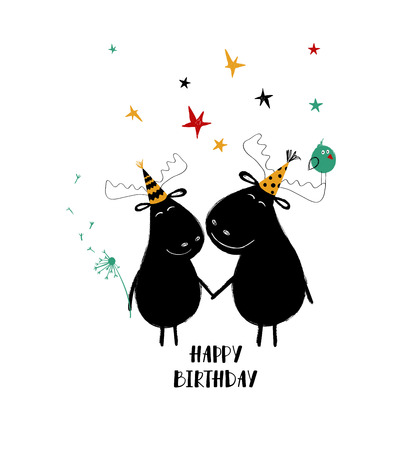 A couple of cute holding hands moose. Funny birthday greeting card.