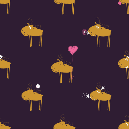 Colorful seamless pattern with funny moose. Cute background for nursery or any textile surface.