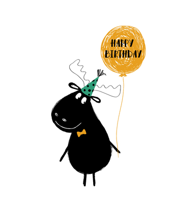 Birthday greeting card with funny black moose holding balloon. Ilustração