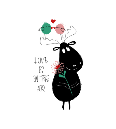 Funny couple of kissing birds and black moose holding a flower. Love greeting card with phrase: love is in the air.