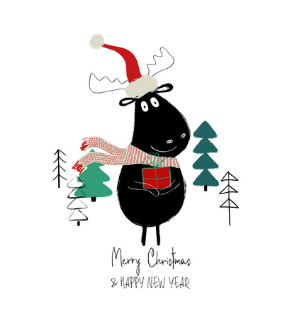 Christmas greeting card with cute moose in Santas hat holding a gift box.