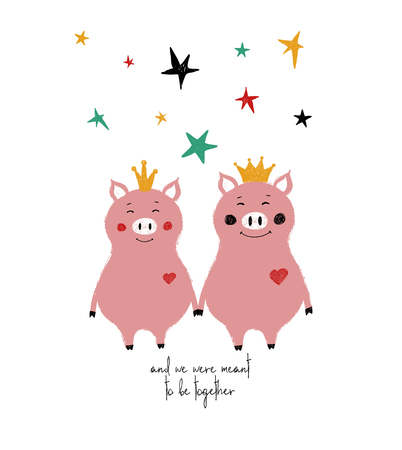A couple of holding hands fairy pigs in crowns. Love greeting card with phrase: and we were meant to be together. Stock Illustratie