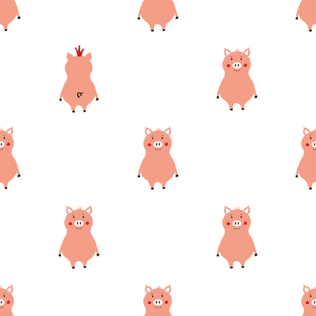 Seamless pattern with cute pink pigs. Funny background for nursery or any textile surface. Illustration