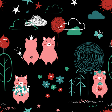 Seamless pattern with cute pigs in the forest. Funny colorful background for nursery or any textile surface. Illustration
