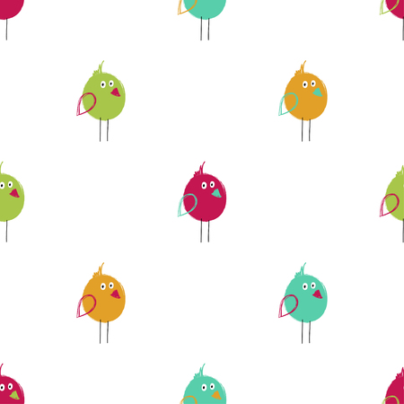 Seamless pattern with cute colorful birds. Funny background for nursery or any textile surface. 向量圖像