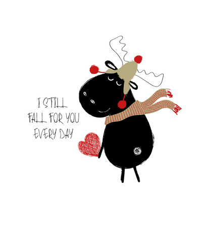 Funny black moose in hat and scarf holding a red heart. Love greeting card with phrase: I still fall for you every day.