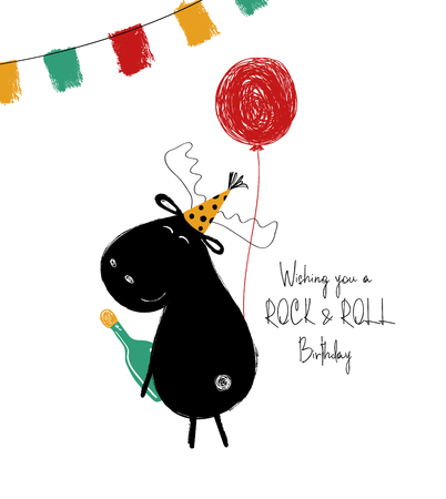 Funny black moose with bottle and balloon. Birthday greeting card with phrase: wish you a rock and roll birthday.