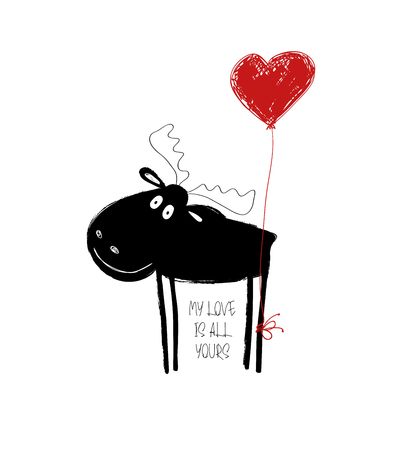Funny black moose with red heart balloon. Love greeting card with phrase: my love is all yours.