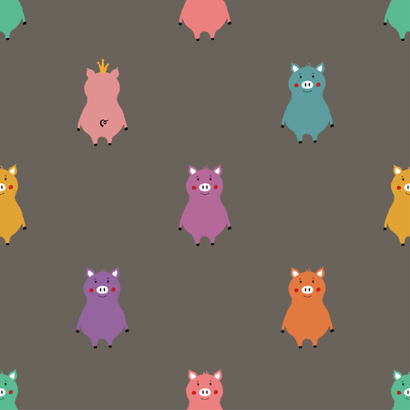 Seamless pattern with cute colorful pigs. Funny background for nursery or any textile surface. Illustration