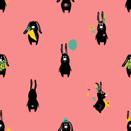 Colorful seamless pattern with cute rabbit. Funny background for nursery or any textile surface. Illustration