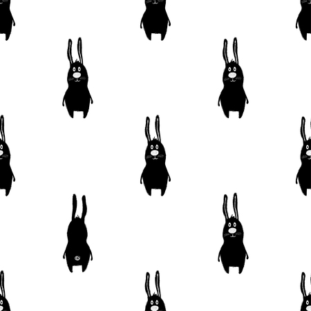 Seamless pattern with cute black rabbit. Funny background for nursery or any textile surface.