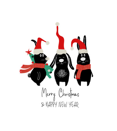 Christmas and New Year greeting card with funny group of rabbits. Stock Illustratie
