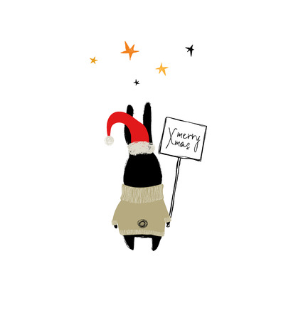 Christmas and New Year greeting card with funny rabbit holding message board. Archivio Fotografico - 109889443