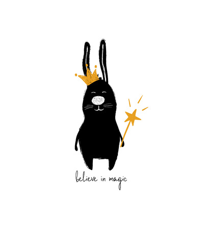 Funny black rabbit in crown holding a magic wand. Greeting card with inspiring phrase - believe in magic.